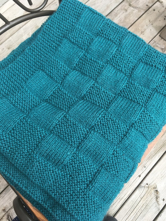 Tejer manta azul azul tiro mano Knit manta tejido de
