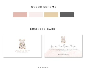Little Girl Boutique Branding Package, Dress Boutique Branding Kit, Dress boutique Branding Set, Pink Dress Logo, Dress Couture Logo