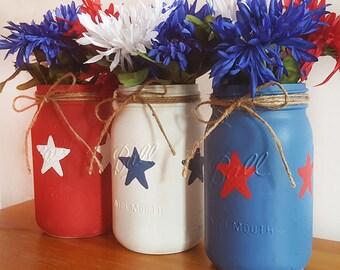 Red White and Blue Mason Jars, Patriotic Mason Jars, 4th of July Mason Jars, Americana Mason Jars, Patriotic Decor, Home Decor, Summer Decor