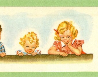 Vintage Children Bookmark - Laminated