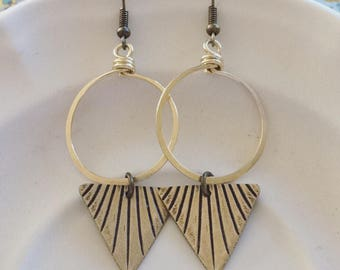MOONSHINE dangle antiqued brass handforged loop long earrings