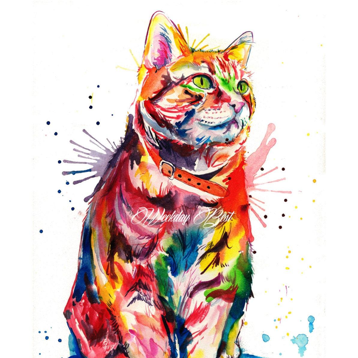 Colorful Tabby Cat Art Print Print of my Original Watercolor