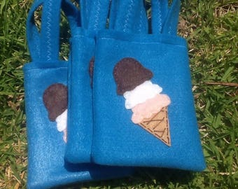 ICECREAM PARTY / felt party favor/ set of 6 Party bags/ party supplies