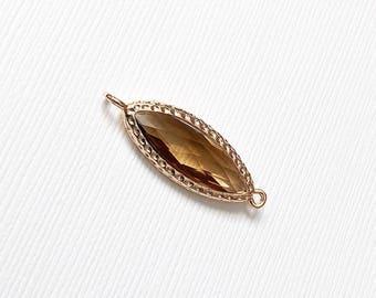 Brown Pendant, Bezel Glass Jewelry, Marquise, Earring Findings, Fancy Pendant, CRGL029