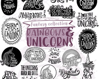 Unicorn Word Art Quotes, Hand Lettered Unicorn Shirt ClipArt PNG, Photoshop Clipping Mask, Graphics for Invitations, Rainbow Unicorn Party