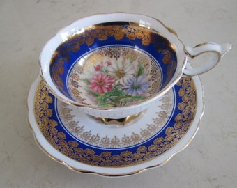 Royal Stafford Blue and Gold Floral Tea Cup and Saucer