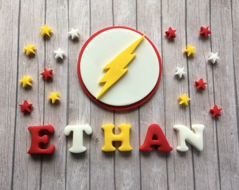 Edible fondant sugar personalised The Flash logo cake topper set - white, yellow and red