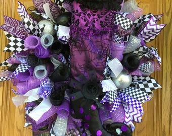 Fancy Witch, Black & Purple, Deco Mesh, Halloween Wreath, Holiday, Witches Boot, Silver and Black Ornaments