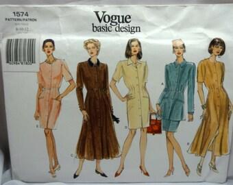 Vogue 1574, Misses' Dress, Jacket and Skirt Pattern, Sewing Pattern, Misses' Size 8-10-12, Uncut