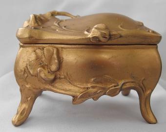 Antique Jewelry Casket, Trinket Box, Edwardian, Art Nouveau, Restored, ca 1910-1920 NT-1449