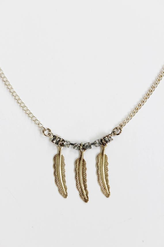 Crystal & Feather Charm Necklace