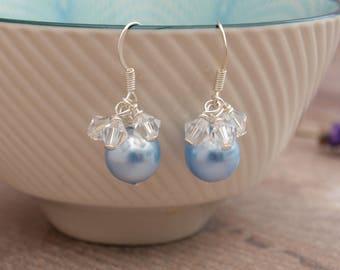Pale Blue Pearl Bridal Earrings - Blue Wedding Earrings - Bridesmaid Gift - Wedding Jewellery - Jewellery Made By Me - Handmade Weddin Etsy