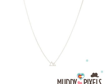 Tiny Minimalistic Colorado Mountain Pride Necklace