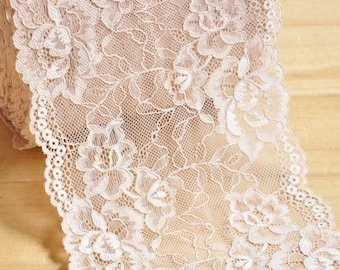"""3 Yards 6"""" Width Floral Embroidery Lace Trim"""