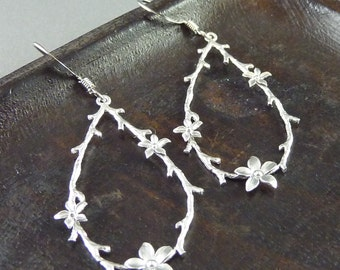 Daisy Rae. Silver Floral Teardrop Earrings. 16k white gold plated. delicate. modern. whimsical. dainty. pretty.