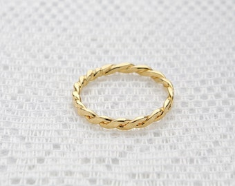 Twisted gold ring, stacking ring, skinny thin gold filled ring, simple gold ring, everyday dainty jewelry.