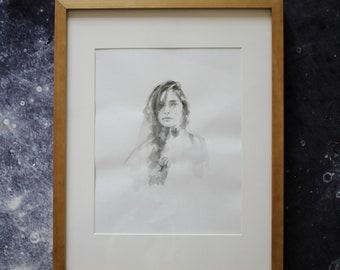 Original art drawing painting female woman lady girl portrait minimal greyscale black and white emerging