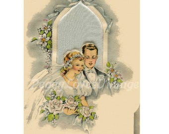 Wedding 23 a Beautiful Bride and Groom with White Roses a Digital Image from Vintage Greeting Cards - Instant Download
