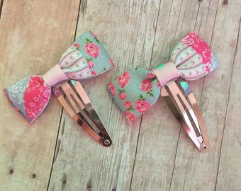 Baby Bows, Pigtail bows, Mini bows with clips, Patchwork Bows, Bow Barrettes