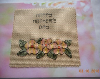 Mother's Day Card, pink and yellow flowers, Happy Mother's Day,cross stitch card,hand made card