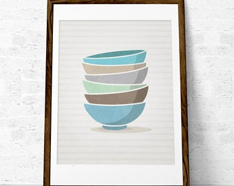 Kitchen print Stacked bowls Mothers day print Kitchen decor Kitchen wall art Kitchen art Stack of bowls Kitchen poster Kitchen decorUK