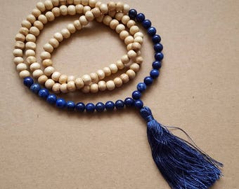 Necklace wooden beads and gemstone lapis lazuli and large Pompom