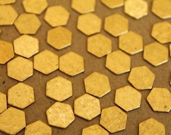 20 pc. Small Raw Brass Crosshatched Hexagons: 9mm by 8mm - made in USA | RB-232
