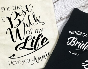For the Best Walk of my Life Father of the Bride Personalised wedding morning socks for walking up the aisle daughter give away