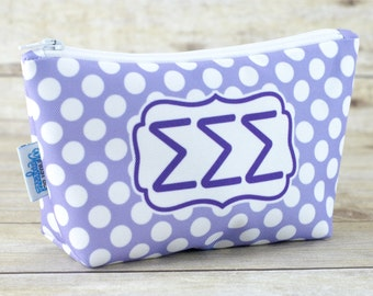Sigma Sigma Sigma | Tri Sigma | Tri Sig | ΣΣΣ | Sorority Make Up Bag