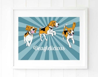 Beagle dog print dog lover gift for her Beagle gift idea Beagle owner gift Dog salon art print wall decor Gift for women Gift for girlfriend