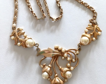 50s Gold & Pearl Necklace Bib Necklace Mid Century Jewelry Repousse necklace Choker