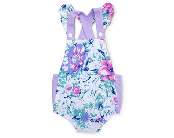 Cake Smash Outfit Girl 1st Birthday Girl Outfit First Birthday Outfit Girl 2nd Birthday Outfit Girl Purple Ruffle Romper Floral Baby Sunsuit