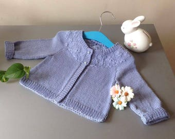 Baby Girls Cardigan/Jacket with Embroidered Flowers with Pearls.
