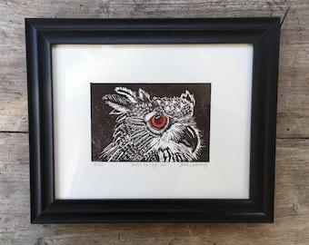 Framed Handprinted Linocut Owl Print