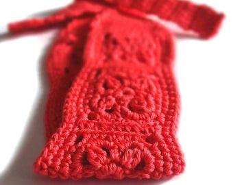 Crochet Headband, Boho Knit, Hairband in Melon Red, Orange Cotton