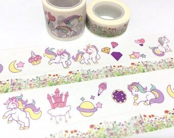 unicorn washi tape 5M x 3cm fairy tale Princess horse masking tape rainbow castle wonderland cartoon unicorn cupcake cute sticker tape