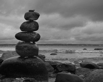 Rock Photography, Zen Photo, Lake Michigan, Traverse City, Old Mission, Yoga Photo, Michigan Photography, Black and White