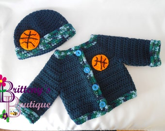 Baby Boy Coming Home Outfit  Baby Boy Sweater  Baby Boy Crochet Basketball Sweater  Basketball Layette  12 Mo  Baby Boy Shower Gift