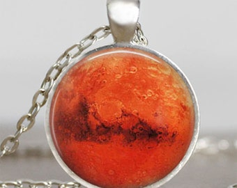 Mars Planet pendant necklace , mars jewelry galaxy space universe gift for men women ,mars necklace