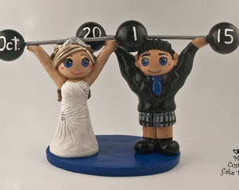 Bride and Groom Weight Lifting Wedding Cake Topper - Crossfit Cake Topper