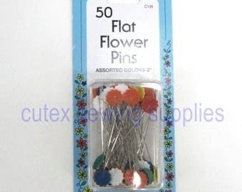 """Collins 2"""" Flat Flower Pins, Assorted Colors - 50 Pack"""