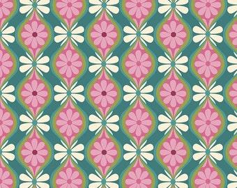 Riley Blake Botanique Botanical Stripe Teal fabric
