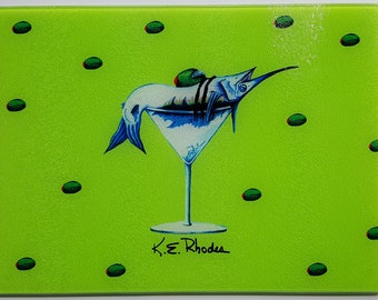 Marlin Martini Glass Cutting Board olives bar party humorous fishing gift Lime Pink Yellow Orange