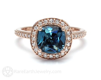 London Blue Topaz Ring London Blue Halo Topaz Cushion Engagement Ring 14K or 18K Gold December Birthstone Blue Gemstone Ring