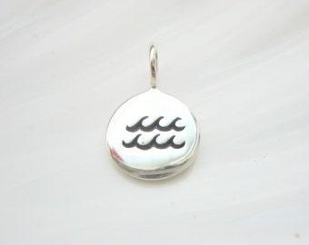 Sterling Silver Aquarius Zodiac Charm - Add On - Astrological Sign