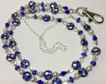 Cobalt Blue and Silver Lanyard