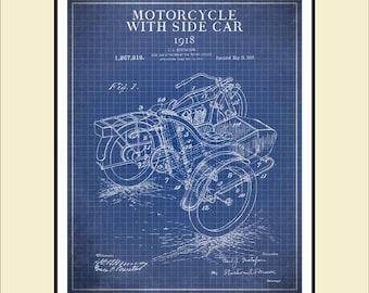 Blueprint art etsy au motorcycle patent print wall art patent blueprint art 1918 motorcycle with side car malvernweather Image collections