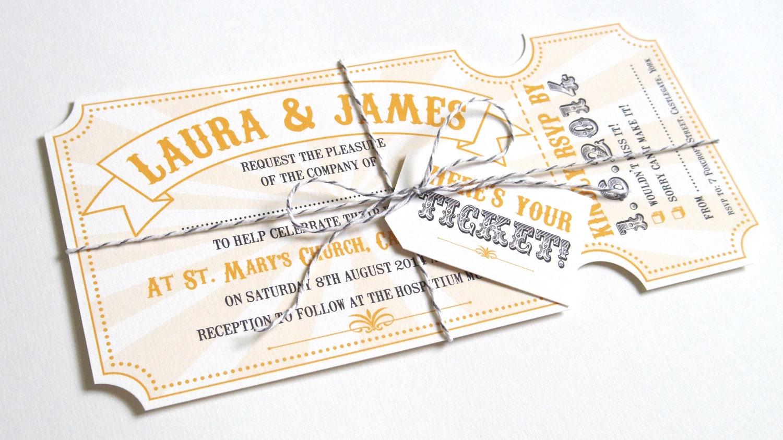 Circus Ticket Wedding Invitations Fun Fair Carnival