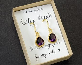 Plum purple amethyst purple Personalized Bridesmaid Gift Bridesmaid Jewelry Set 2 3 4 5 6  purple  Bridesmaid Earrings Bridal Party Gift