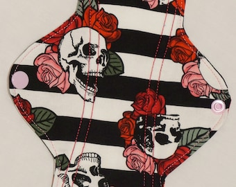 Striped Skulls and Roses Reusable pad